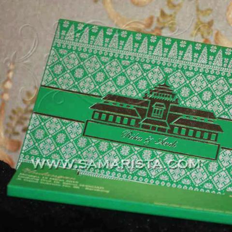 Foto: Kartu Undangan Pernikahan Hijau Motif Palembang