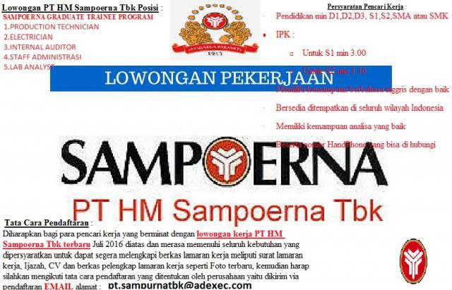Foto: Lowongan Kerja PT. HM Sampoerna Tbk