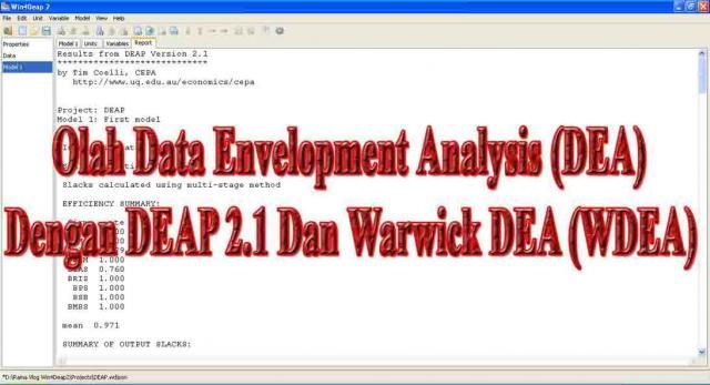 Foto: Olah Data Envelopment Analysis (DEA) Dengan Deap 2.1 dan Warwick Dea (WDEA)