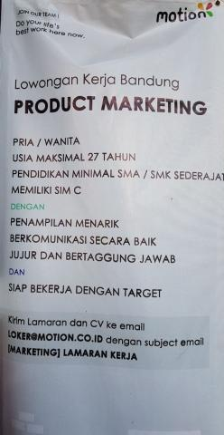 Foto: Lowongan Kerja Product Marketing – Bandung